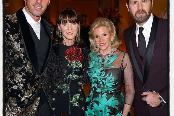 Dolce & Gabbana exec Paolo Cigognini (left) with Mid Winter Gala co-chair Allison Speer and FAMSF Board President Dede Wilsey and his colleague Valerio D'Ambrosio enjoy the Legion of Honor in advance of their gala sponsorship in March.