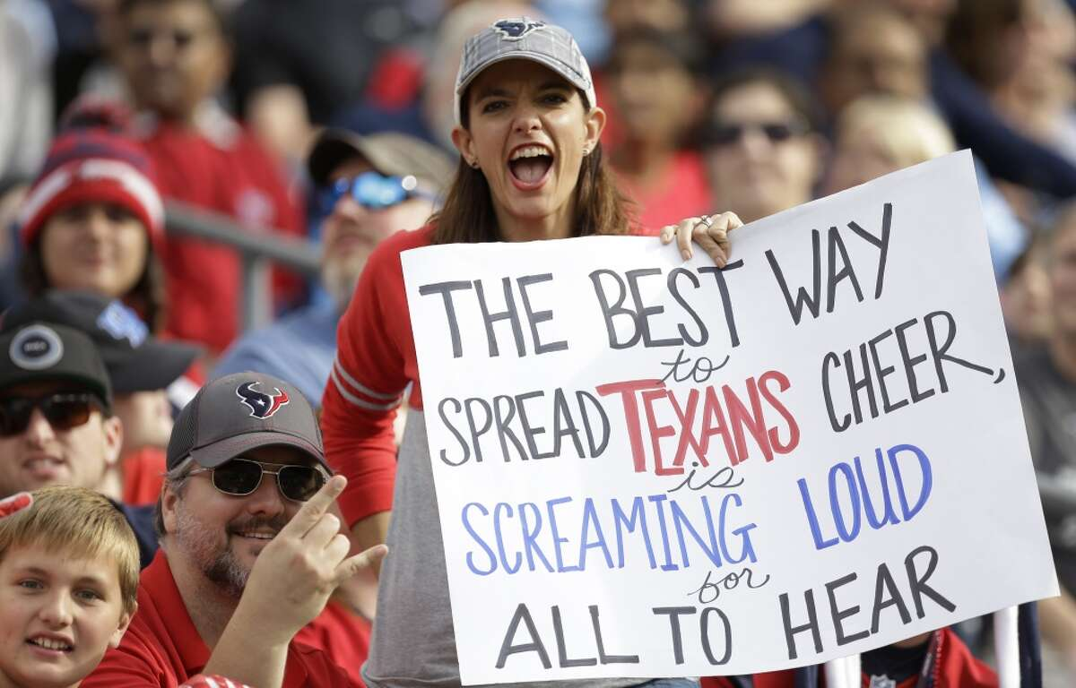 A Houston Texans fan cheers during the first quarter of an NFL football game against the Tennessee Titans at Nissan Stadium on Sunday, Dec. 27, 2015, in Nashville. ( Brett Coomer / Houston Chronicle )