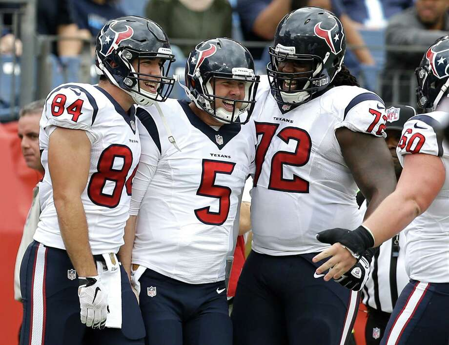 Brandon Weeden (5), the fourth quarterback to start for the Texans this season, had a lot to smile about Sunday. Photo: Brett Coomer, Staff / © 2015 Houston Chronicle