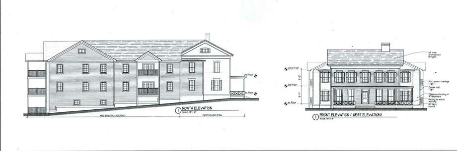 This architectural drawing shows the façade of The Barton House as it will be preserved (drawing to right) with a new, 14-unit apartment building attached behind it (side view to left.) Photo: Contributed Photo / Contributed Photo / The News-Times Contributed