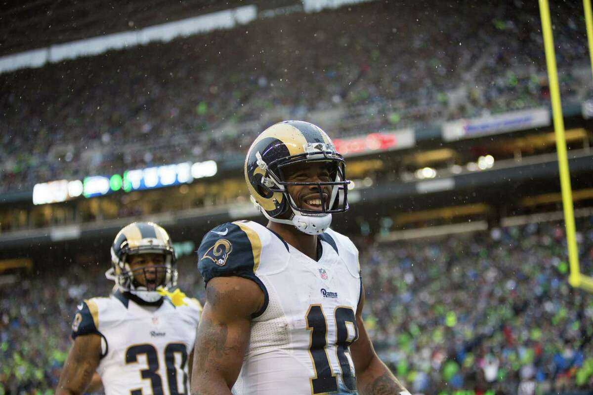 Rams wide receiver Kenny Britt and running back Todd Gurley celebrate Britt's touchdown against the Seattle Seahawks at CenturyLink Field in Seattle on Saturday, Dec. 27, 2015.