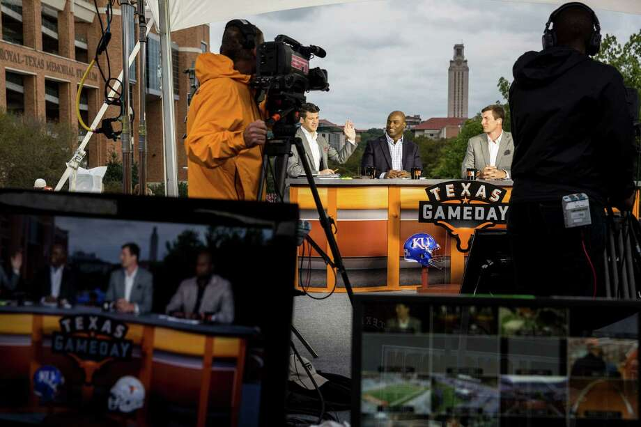 """Five years ago, ESPN signed a 20-year, $295-million contract with the University of Texas, broke ground on a new studio and agreed to absorb Longhorn Network production costs pegged at an estimated $26 million a year. , according to the contract details The Longhorn Network """"Game Day"""" production is filmed Nov. 7 on set before the football game against the University of Kansas at the University of Texas at Austin campus. Photo: Carolyn Van Houten / 2015 San Antonio Express-News"""