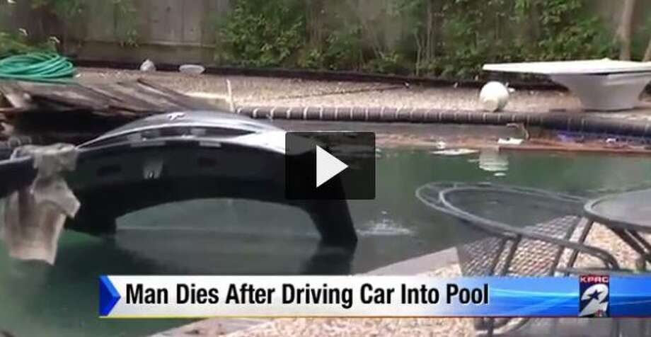 A man died after crashing a Tesla into a Houston swimming pool, Dec. 26, 2016. (Screen grab via KPRC-TV)