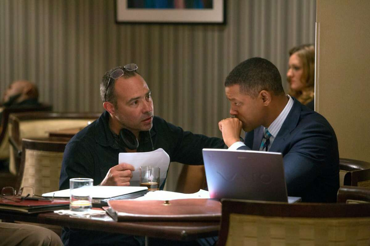 """Will Smith and Peter Landesman in """"Concussion."""" (Melinda Sue Gordon/Columbia Pictures)"""