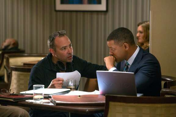 "Will Smith and Peter Landesman in ""Concussion."" (Melinda Sue Gordon/Columbia Pictures)"