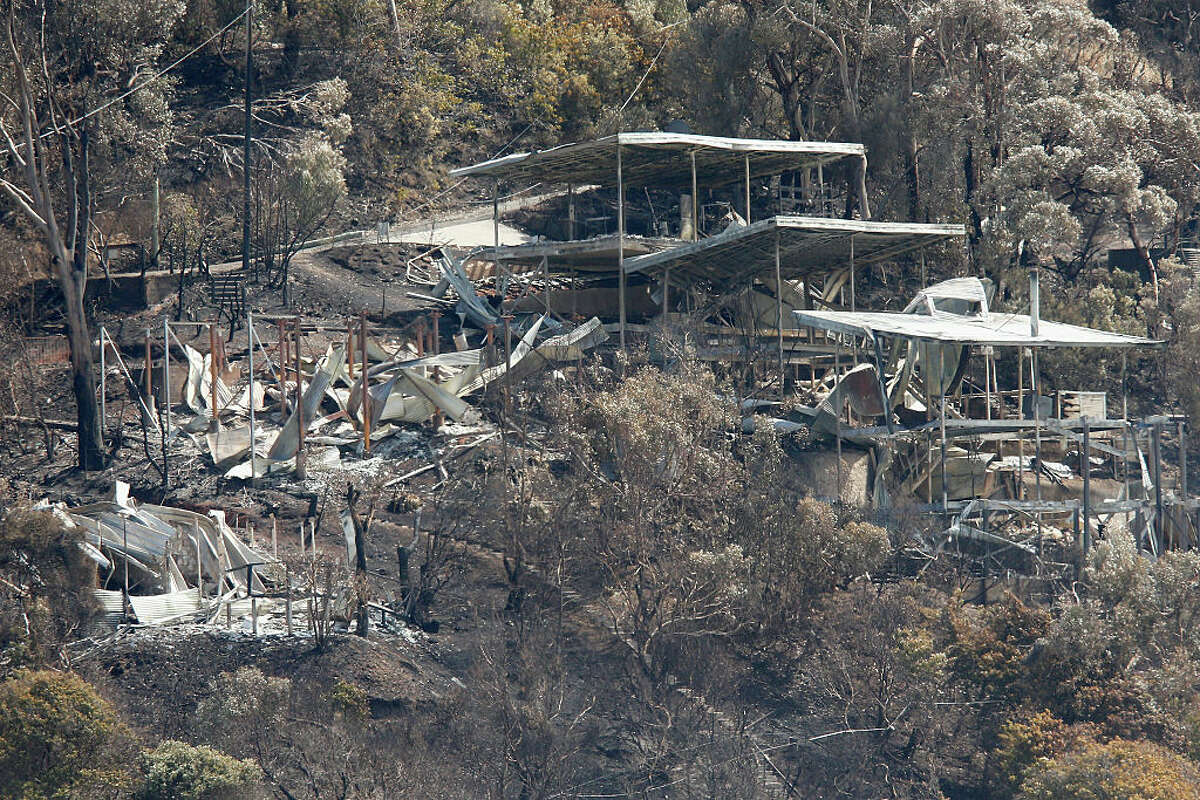 A burnt out house on the hillside at Wye River is seen on December 27, 2015 in Melbourne, Australia. Over 116 homes in the Wye River area along Victoria's Great Ocean Road were destroyed on Christmas Day. The fire started from a lightning strike in the area on December 19.