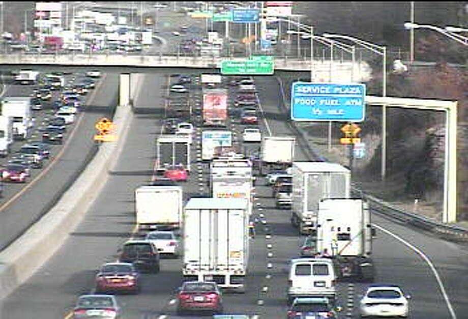 Traffic backs up near three-vehicle crash on I-95 in Milford, Monday Dec. 28 Photo: CT DOT