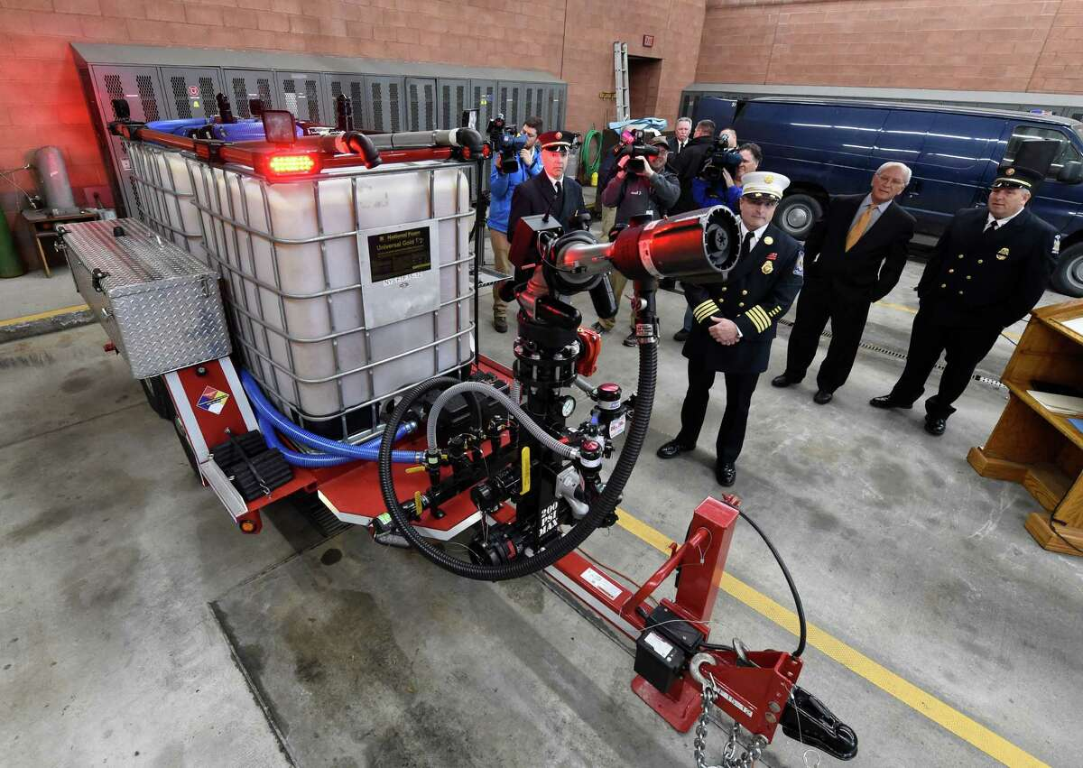 A new foam delivery system for fighting oil based fires was given to the Albany Fire Department by the State of New York for Wednesday Dec. 23, 2015 during a press conference held at the South End Fire Station in Albany, N.Y. (Skip Dickstein/Times Union)