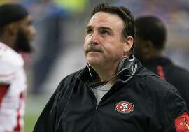 DETROIT, MI - DECEMBER 27: Head coach Jim Tomsula of the San Francisco 49ers looks on during the fist half of the game against the Detroit Lions during an NFL game at Ford Field on December 27, 2015 in Detroit, Michigan. (Photo by Dave Reginek/Getty Images)