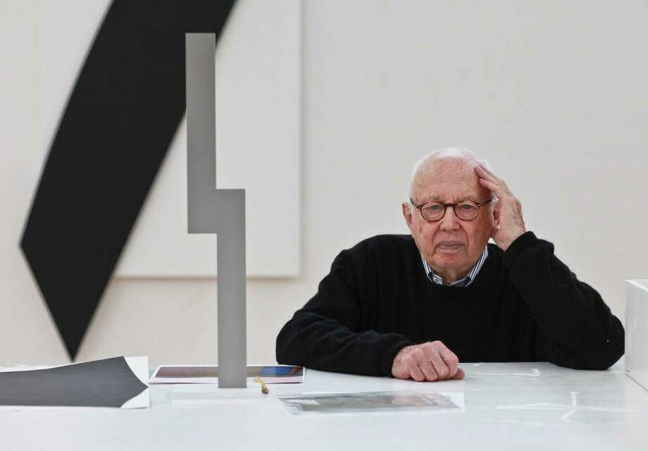 Ellsworth Kelly at his studio in Spencertown, N.Y., Jan. 10, 2012. Kelly, who in the years after World War II shaped a distinctive style of American painting by combining the solid shapes and brilliant colors of European abstraction with forms drawn from everyday life, died Dec. 27, 2015. He was 92. Photo: FRED R. CONRAD, STF / NYTNS