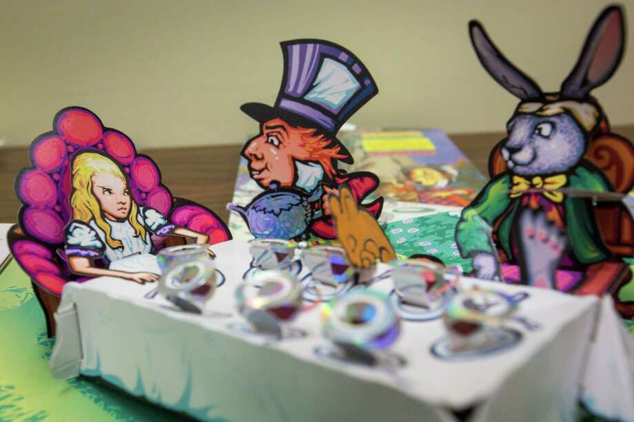 An illustration from Robert Sabuda's edition of Alice's Adventures in Wonderland, a pop-up book. (For more illustrations, scroll through the gallery.) Photo: Charlie Leight, Courtesy Arizona State University / Copyright Arizona Board of Regents