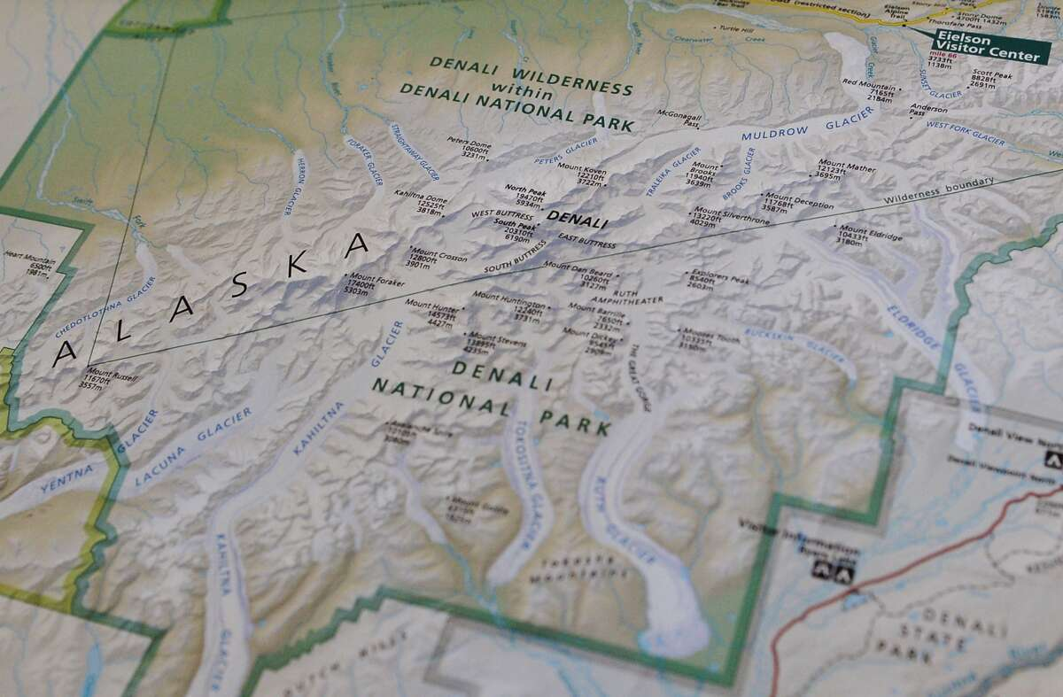 """Mount Denali A National Parks Service map shows the newly renamed """"Denali,"""" which was formerly known as Mount McKinley, on Aug. 31, 2015. President Obama announced the restoration of the name to the tallest mountain in North America."""