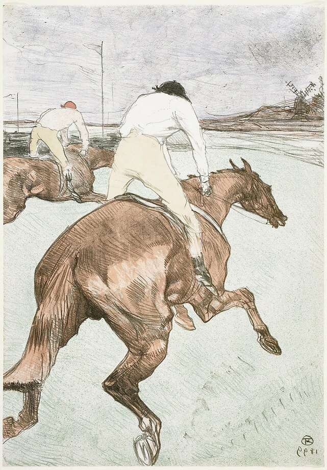 "Henri de Toulouse Lautrec's 1899 lithograph ""The Jockey"" appears in ""Looking East: How Japan Inspired Monet, Van Gogh, and Other Western Artists"" through Feb. 7 at Asian Art Museum. The jockey, 1899, by Henri de Toulouse Lautrec (French, 1864—1901). Lithograph; color on paper. Museum of Fine Arts, Boston, Fund in memory of Horatio Greenough Curtis, 24.1704. Photograph © 2015, MFA, Boston. Photo: Credit: © 2015, MFA, Boston"
