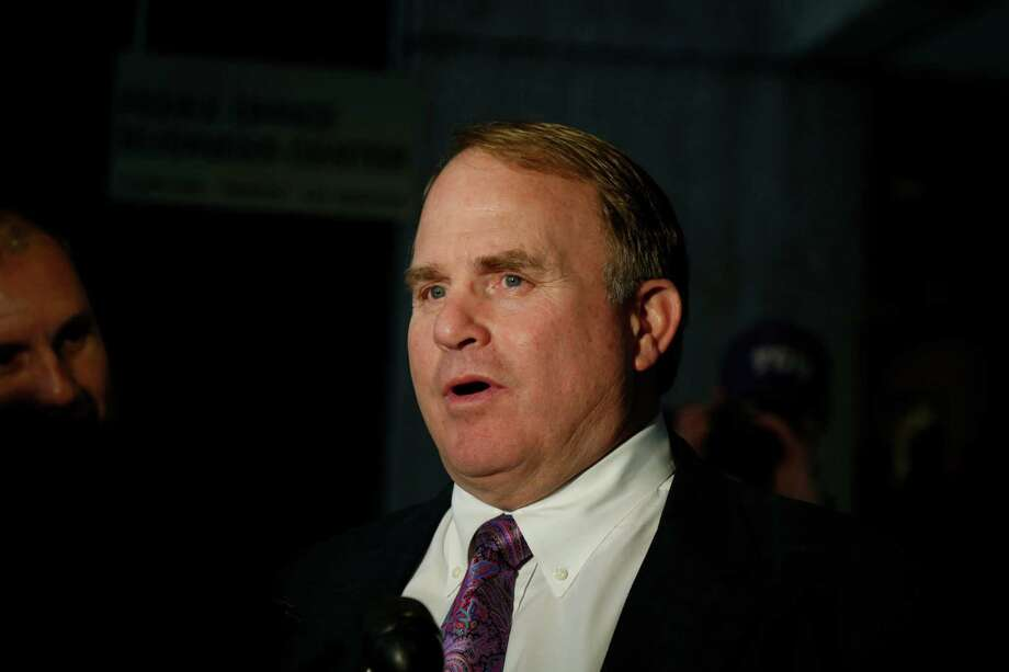TCU head coach Gary Patterson address the media after TCU football team arrived at the Hyatt Regency Riverwallk on Dec. 28, 2015. Photo: Ronald Cortes /For The Express-News / Express-News