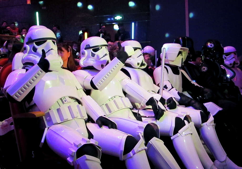 """Fans dressed as storm troopers were ready Sunday for the Chinese premiere of """"Star Wars: The Force Awakens"""" in Shanghai.  Photo: STR / AP"""