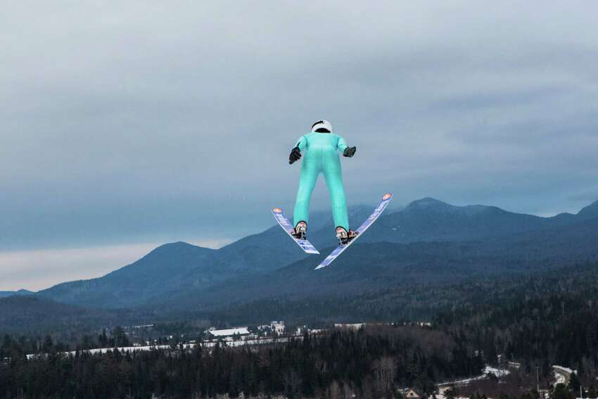 A skier after leaving a ski jump ramp, which was used in the 1980 Winter Olympics, in Lake Placid, N.Y., Jan. 10, 2014. (Nancie Battaglia/The New York Times)