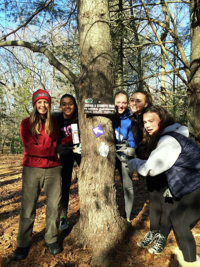 Westport Girl Scout Troop 50178 service project was led by Natalie Lepska, far left, a freshman at Staples High School. Photo: Contributed Photo / Westport News