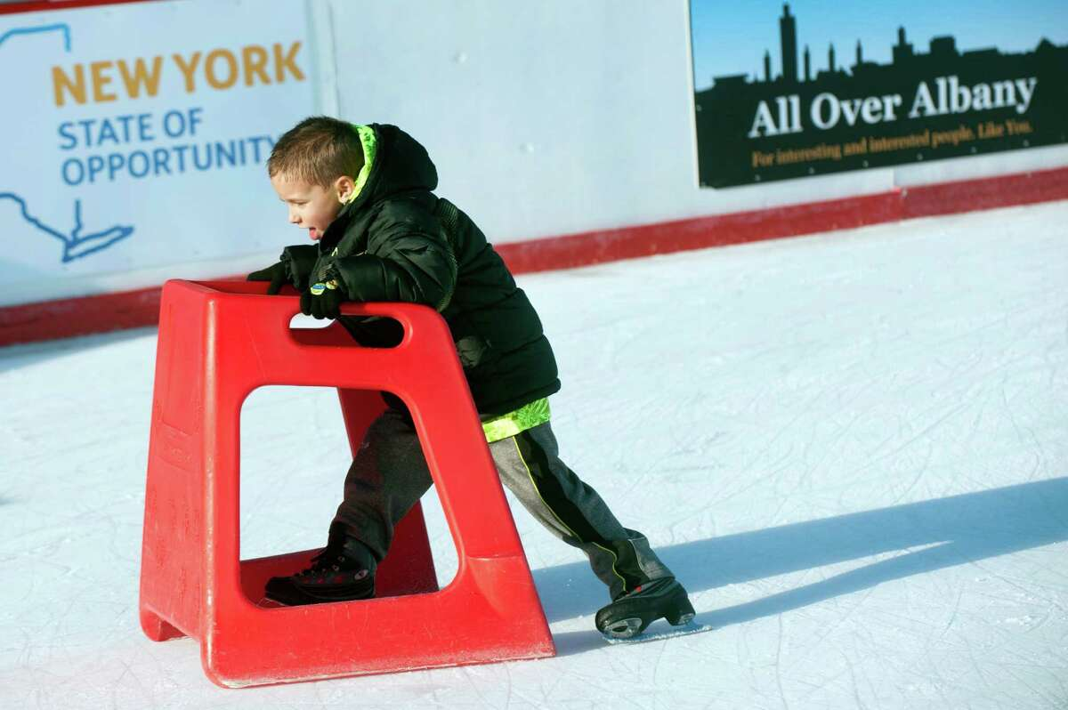Jayden Allen, 5, of Brooksville, Fla. learns to skate on the ice rink on Wednesday, Dec. 16, 2015, at the Empire State Plaza in Albany, N.Y. (Cindy Schultz / Times Union)
