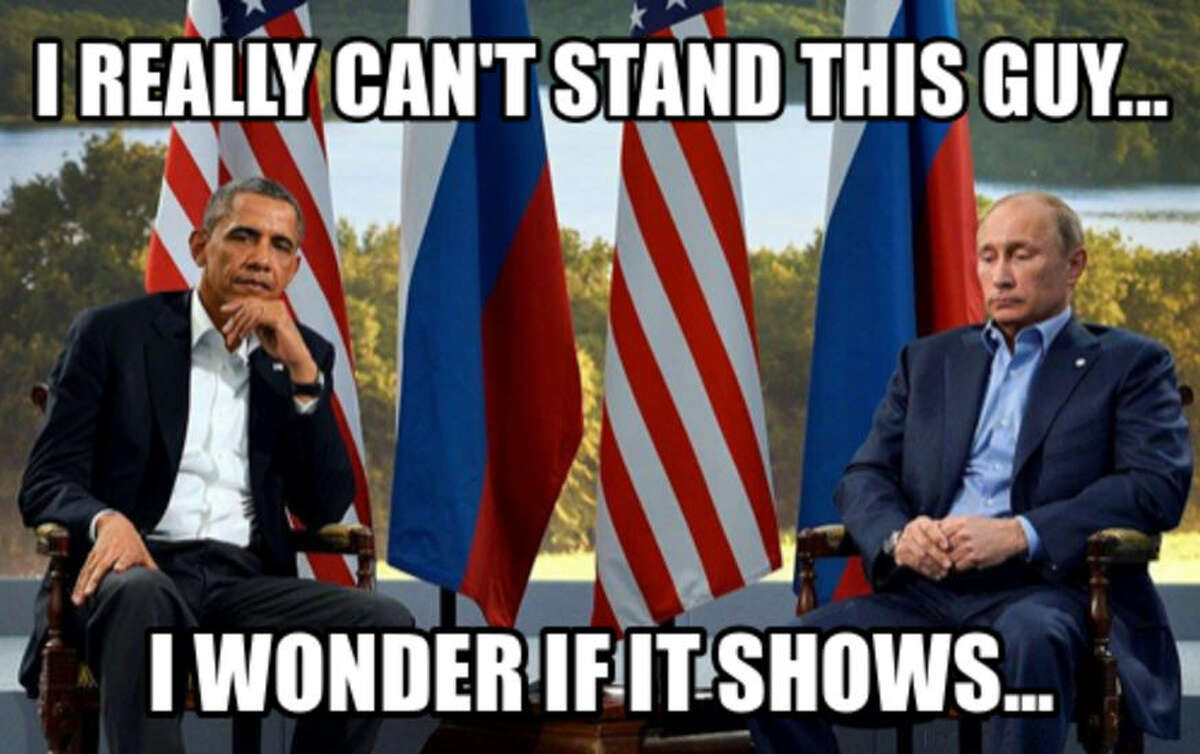 Throughout this year, the tension between the United States' and Russia's world leaders continued to grow. Serious case of frenemies happening here. Story:Obama, Putin share awkward exchange at U.N. Source: Meme Crunch