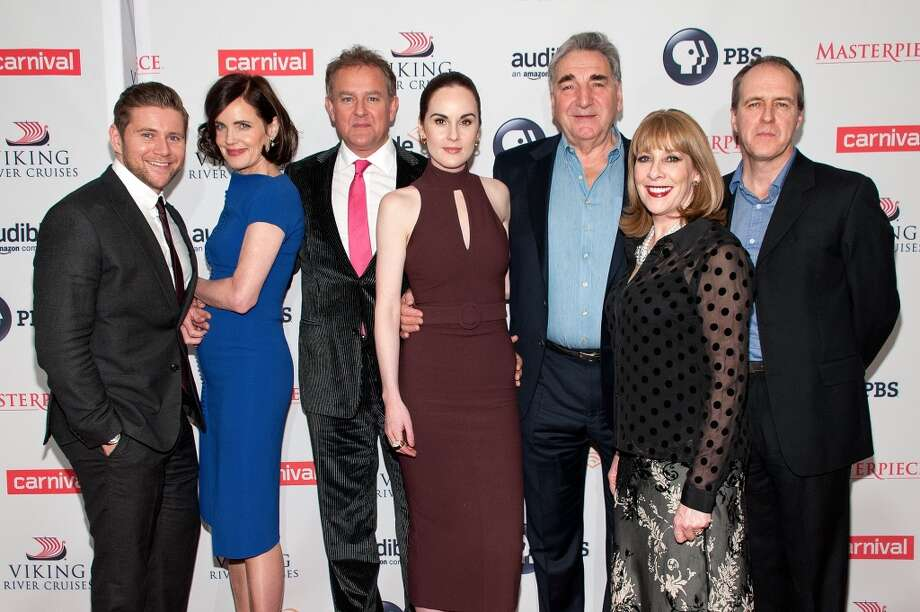 "Allen Leech, Elizabeth McGovern, Hugh Bonneville, Michelle Dockery, Jim Carter, Phyllis Logan, and Kevin Doyle attend the ""Downton Abbey"" series season six premiere at the Millenium Hotel on December 7, 2015 in New York City. Photo: D Dipasupil, FilmMagic"