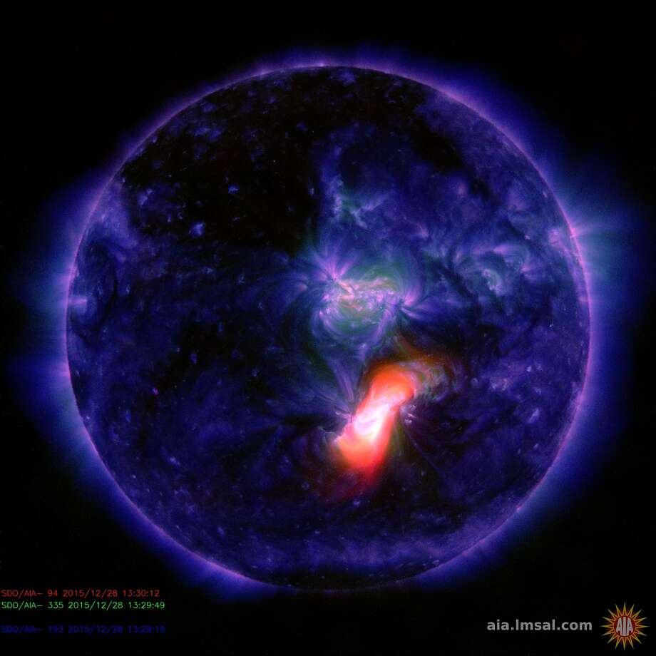 Sunspot erupts 12/28/2015 (image from http://aia.lmsal.com/)