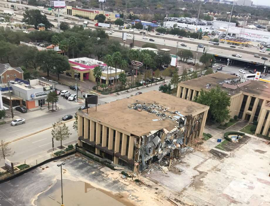 The Corporate Plaza office complex on Kirby Drive just north of the Southwest Freeway.