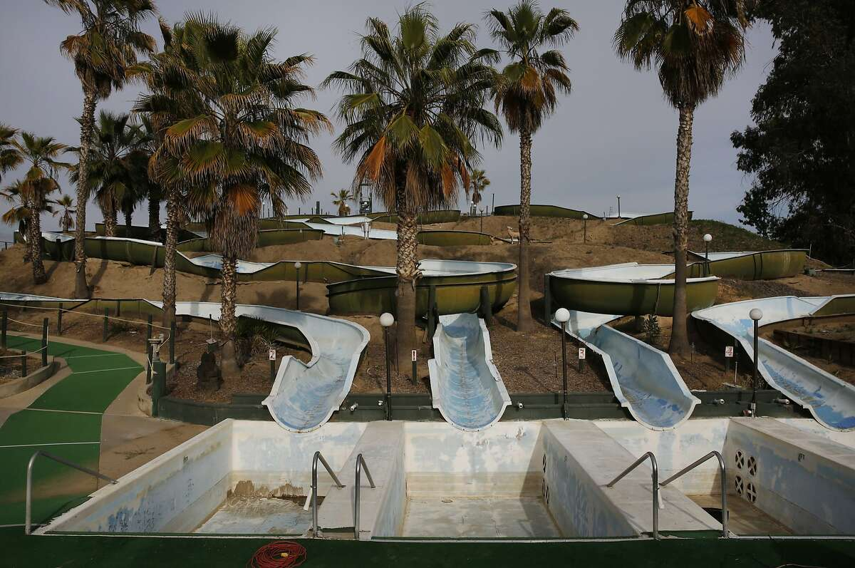 Water slides that are used as part of a local business that runs completely off of recycled water May-Sept. can be seen dry during the off season April 9, 2015 in Tulare, Calif.