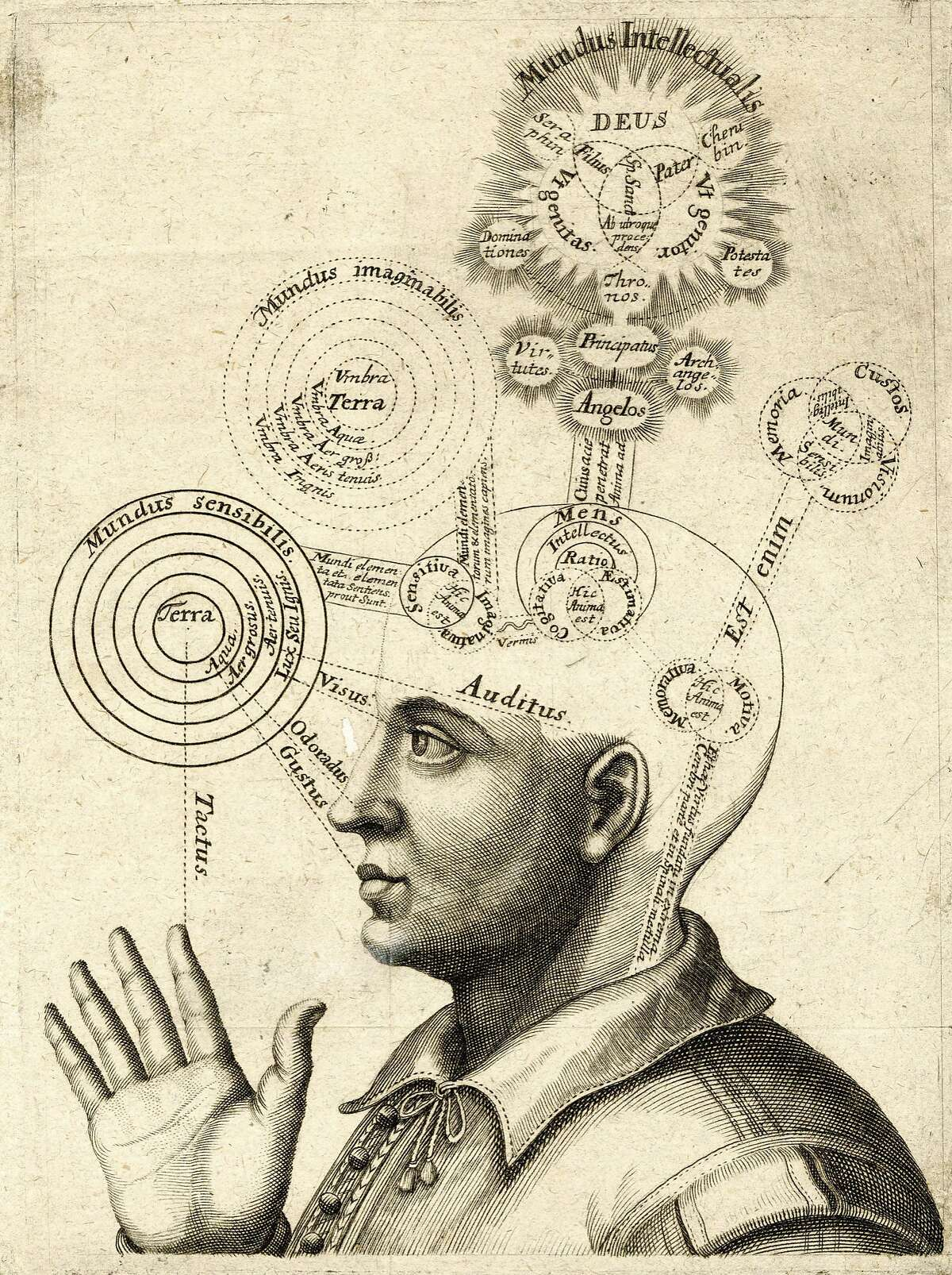 A print of the areas of the brain responsible for human thought, including the four senses, imagination, intellect and faith in God, circa 1650. Antique print of a man's head representing the areas of the brain responsible for human thought, including the four senses, imagination, intellect, and faith in God (copper engraving), c 1650. (Photo by GraphicaArtis/Getty Images)