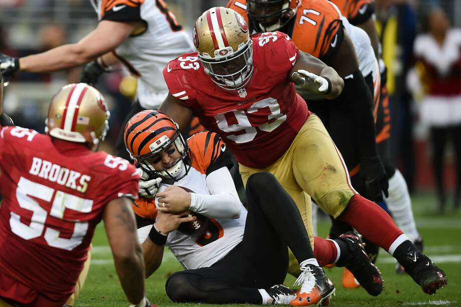 SANTA CLARA, CA - DECEMBER 20:  AJ McCarron #5 of the Cincinnati Bengals is sacked by Ian Williams #93 of the San Francisco 49ers during their NFL game at Levi's Stadium on December 20, 2015 in Santa Clara, California.  (Photo by Thearon W. Henderson/Getty Images) Photo: Thearon W. Henderson, Getty Images