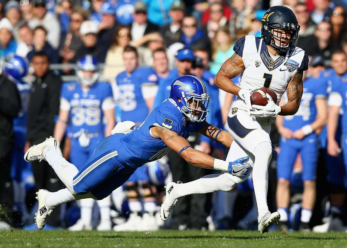 FORT WORTH, TX - DECEMBER 29: Bryce Treggs #1 of the California Golden Bears pulls in a pass against Brodie Hicks #18 of the Air Force Falcons in the second quarter of the Lockheed Martin Armed Forces Bowl at Amon G. Carter Stadium on December 29, 2015 in Fort Worth, Texas. (Photo by Tom Pennington/Getty Images)