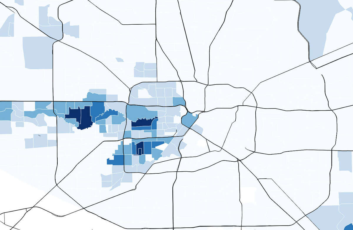 An image of Houston's arrow, shaded based on the average earnings of residents within those Census tracts. The darker the shade of blue, the wealthier the residents.