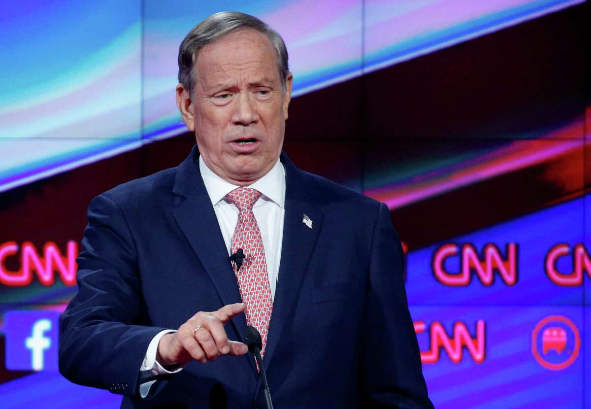 FILE - In this Dec. 15, 2015, file photo, George Pataki makes a point during the CNN Republican presidential debate at the Venetian Hotel & Casino in Las Vegas. Pataki is telling supporters on Tuesday, Dec. 29, he's ready to drop his bid for the Republican presidential nomination.(AP Photo/John Locher, File)