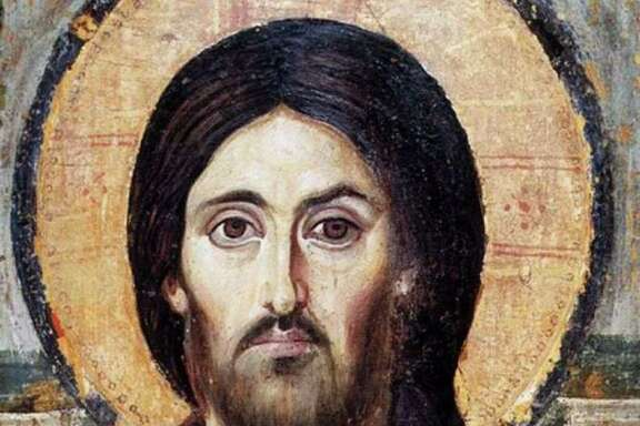 The oldest surviving icon of Jesus is a sixth-century encaustic icon from St. Catherine's Monastery in Mount Sinai, Egypt.