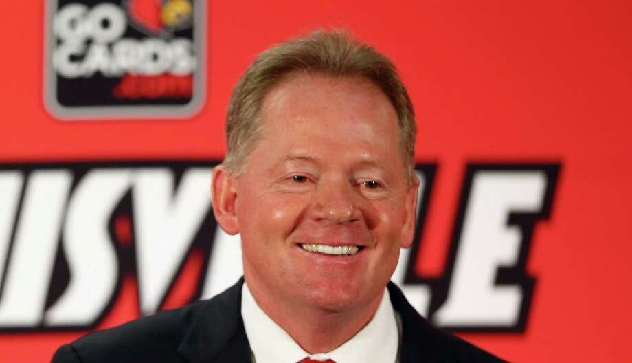 LOUISVILLE, KY - JANUARY 09:  Bobby Petrino talks to the media after being introduced as the head coach of the University of Louisville at Papa John's Cardinal Stadium on January 9, 2014 in Louisville, Kentucky.  (Photo by Andy Lyons/Getty Images) Photo: Andy Lyons, Staff / 2014 Getty Images