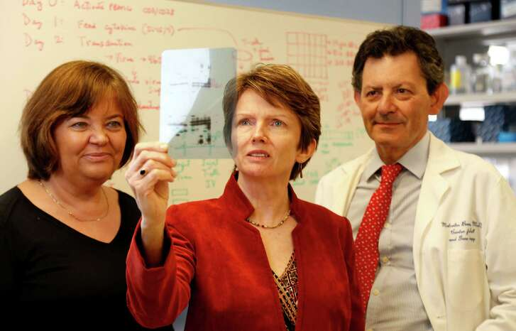 Cliona Rooney, center, holds up a Western blot film and Drs. Helen Heslop and Malcolm Brenner look on, part of their immunotherapy research at the Center for Cell and Gene Therapy at Baylor College of Medicine, Texas Children's Hospital and Houston Methodist Hospital. The research involves adoptive T cell therapy for viruses, in addition to cancer.