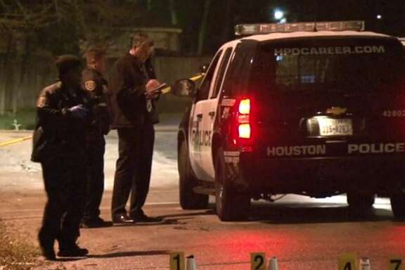 Houston police are looking for information about a man found dead next to his car in the 4500 block of Red  Bud in southeast Houston, Dec. 30, 2015. Investigators found multiple bullet casings in the street and multiple bullet holes in the car.