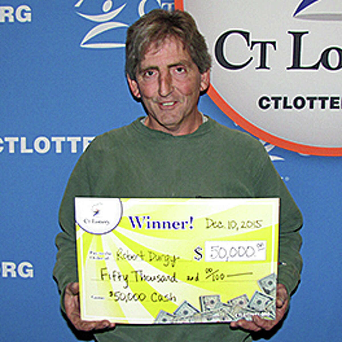 Robert Durgy of Danbury, made a spur of the moment decision at the counter to buy a CT Lottery instant game ticket. He won the top prize on a $50,000 Cash instant ticket.