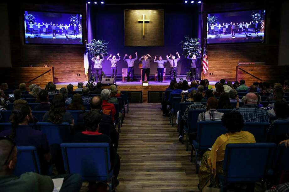 Members of the Silent Touch choir sign and perform a song as parishioners attend the first service at the newly renovated Woodhaven Baptist Deaf Church, 9920 Long Point on Nov. 15. Photo: Michael Ciaglo, Staff / © 2015  Houston Chronicle
