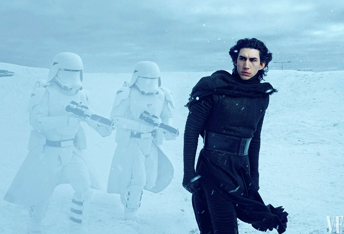Adam Driver as Kylo Ren leads the Stormtroopers in