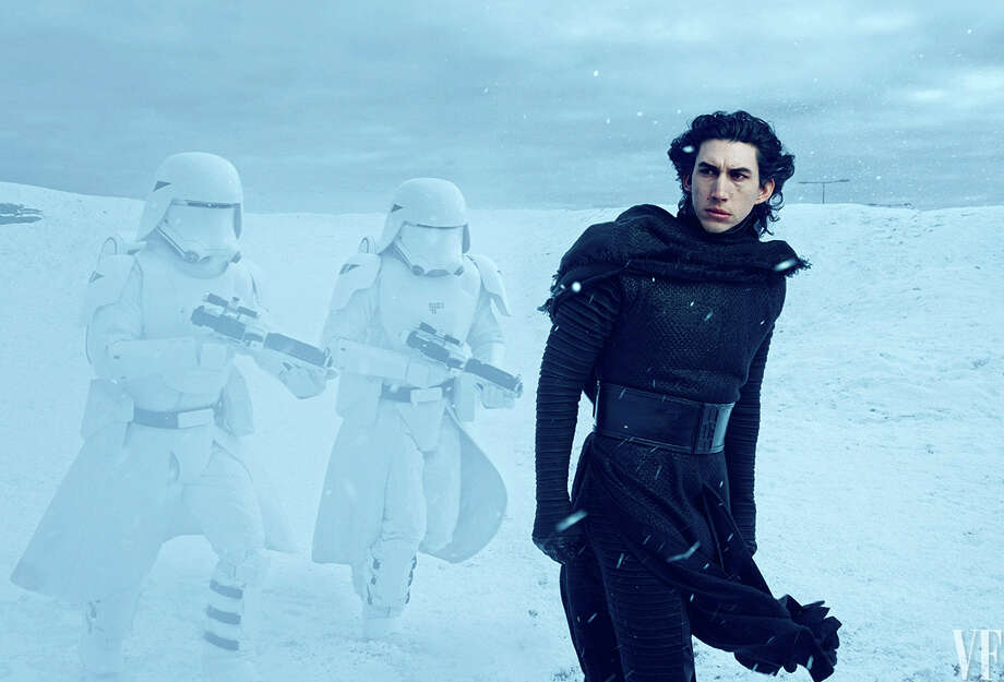 "Adam Driver as Kylo Ren leads the Stormtroopers in ""Star Wars: The Force Awakens."" See more photos of Adam Driver by clicking through the following images. Photo: Contributed / Westport News"