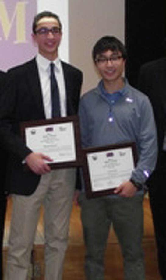 Jacob Klegar and Brendan Massoud, winners of Westportís 2015 Teen Diversity Essay Contest. Photo: Contributed Photo / Contributed Photo / westport news