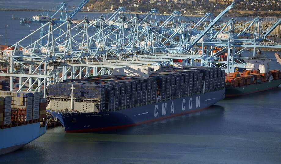The Benjamin Franklin unloads its containers at the Port of Los Angeles in San Pedro on Saturday. It's due to sail under the Golden Gate Bridge at 9:30 a.m. Thursday. Photo: Scott Varley, Associated Press