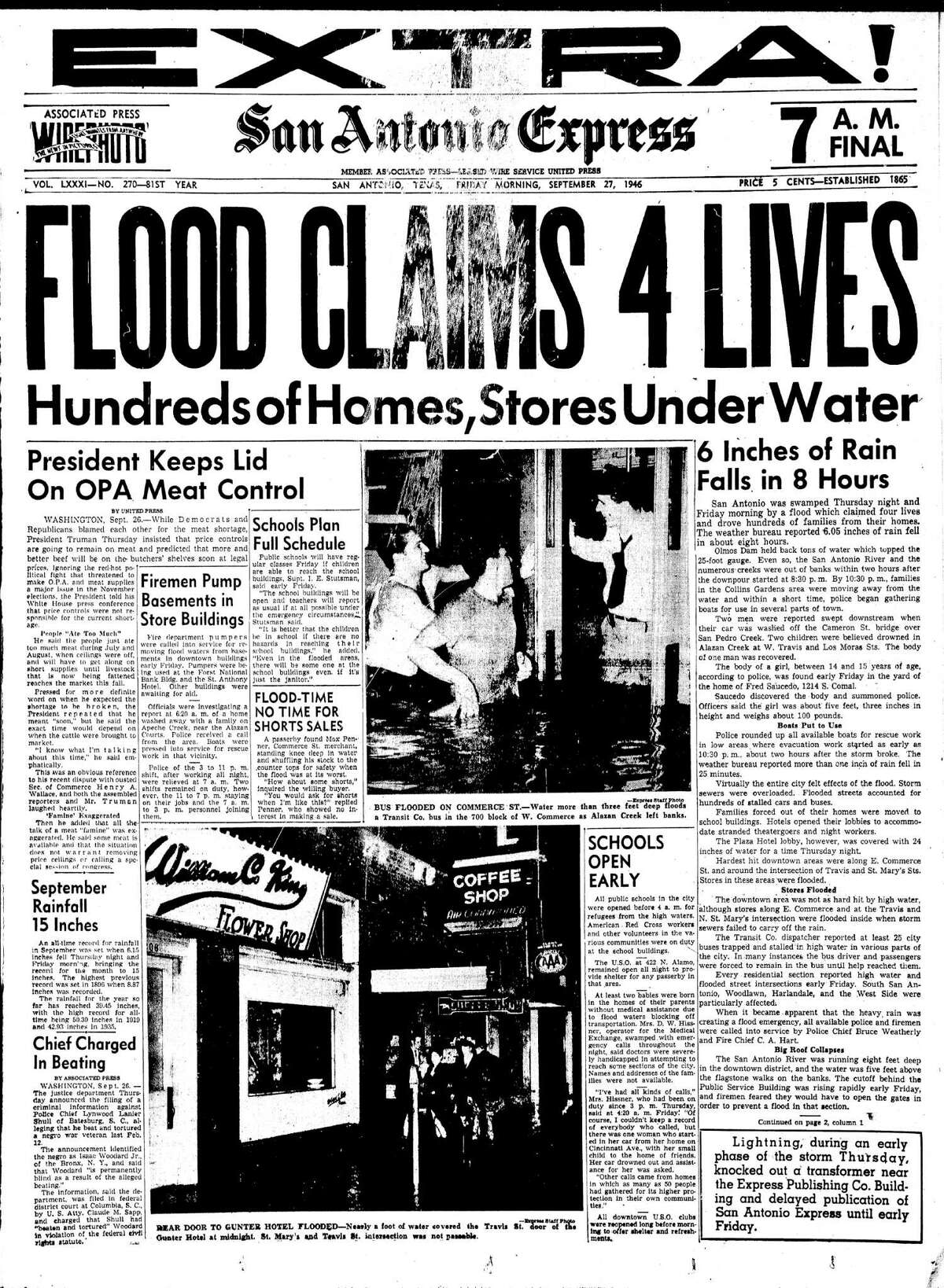 This Sept. 27, 1946, EXTRA for the San Antonio Express included two photos and several stories on A1 about the local flood that claimed four lives and drove hundreds from their homes.