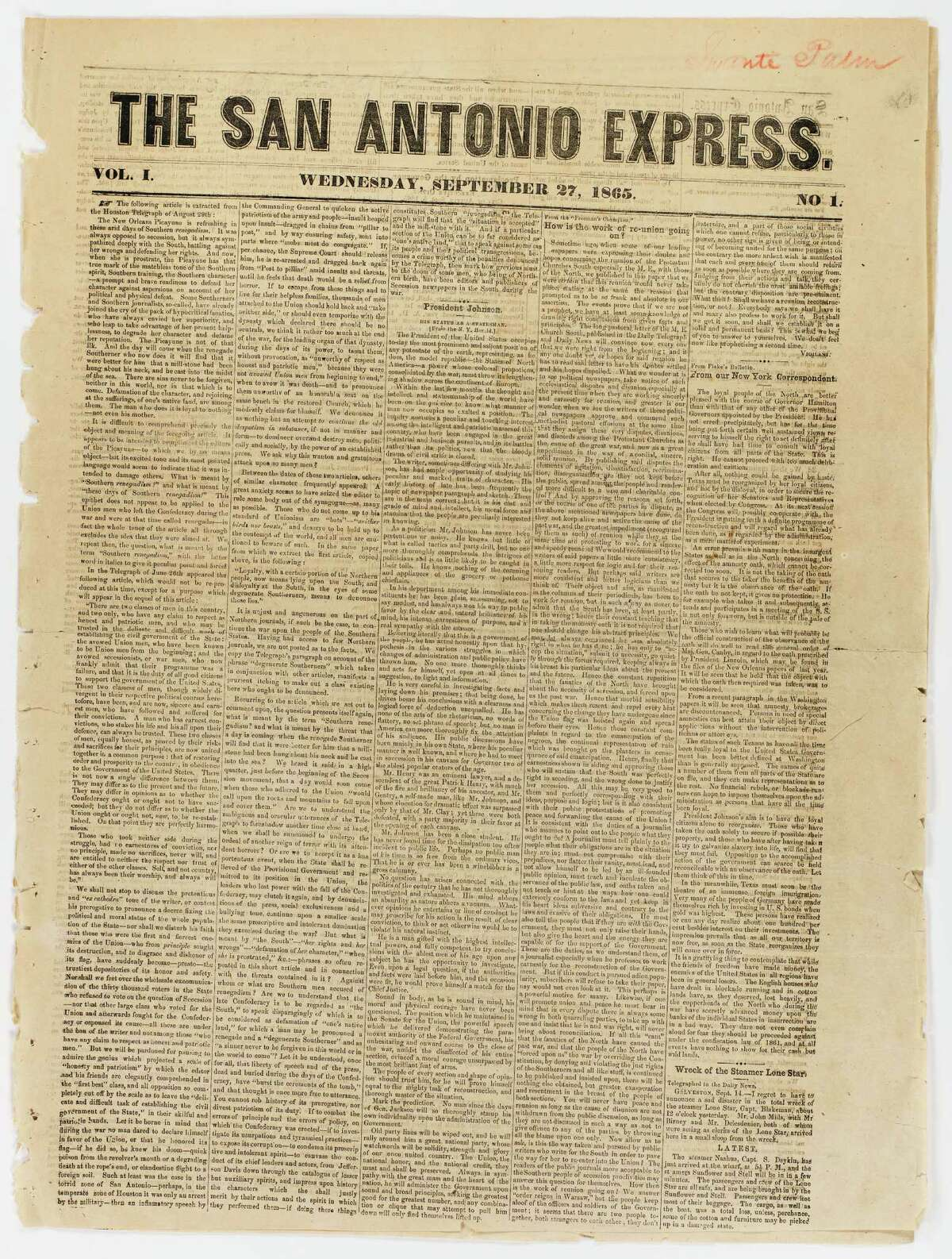 The first edition of the San Antonio Express, published Sept. 27, 1865, was a sea of gray type - no photos or big headlines to put priorities on more important stories. It was four pages.