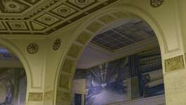 "The San Antonio Express-News building that opened in 1929 features unique architectural details and a mural in the lobby called ""From the Forest to the Home,"" referring to the making of newspapers."