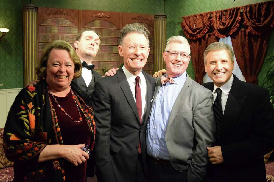 The season's first episode of Manor of Speaking features singer-songwriter (and Downton fan) Lyle Lovett (center). Plus panelist Helen Mann; Mr. Rodgers the butler;  Emmy award-winning host Ernie Manouse; Helen Valier with the University of Houston; and panelist St.John Flynn. Photo: Courtesy Houston Public Media