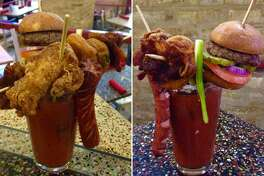 The Hair of the Dog bloody mary from Charlie Wants a Burger features a slider, a hot dog, a chicken wing and a skewer of fried pickles, jalapenos and candied bacon.