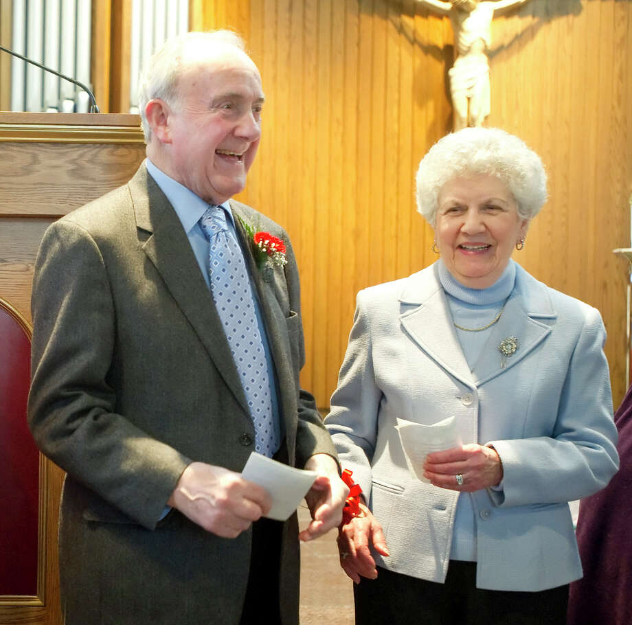 Carmine and Josephine Pikero, marked their 60th wedding anniversary with 18 other couples celebrating milestone anniversaries on Valentine's Day at St. Leo Parish church in Stamford on Sunday, Feb. 14, 2010. Photo: Staff File Photo / Stamford Advocate