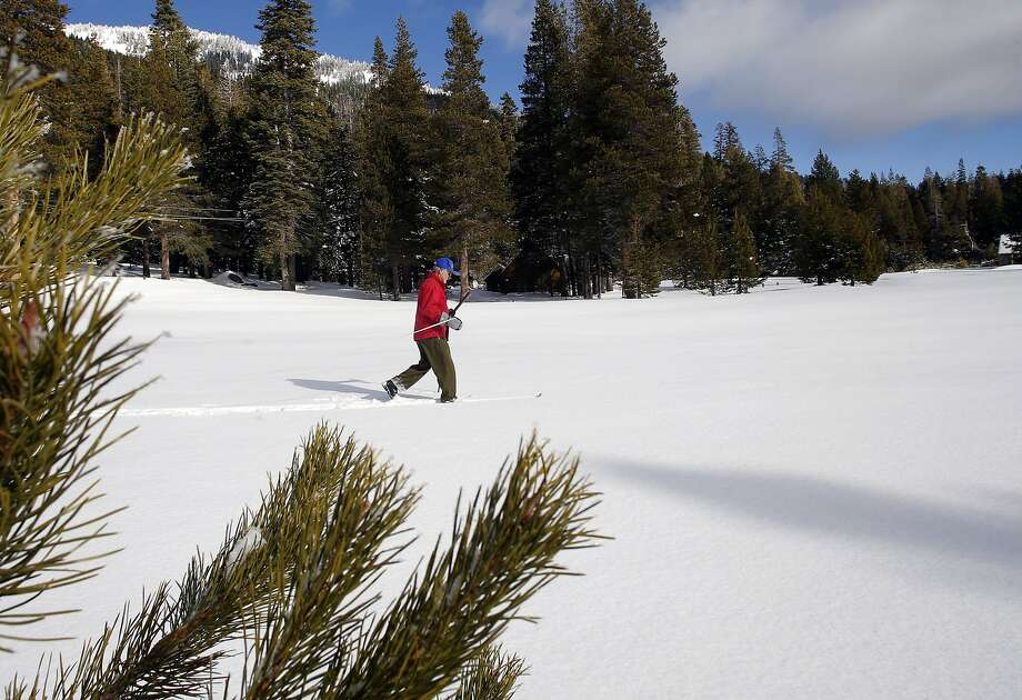 Frank Gehrke, chief of snow surveys for the California Department of Water Resources prepares to collect samples during the first snow survey of the season, at Phillips Station, Calif., on Wednesday December 30, 2015. After the survey it was determined that the snow pack is at 137% of the historical average for readings taken on January 1 at the Phillips location. Photo: Michael Macor, The Chronicle