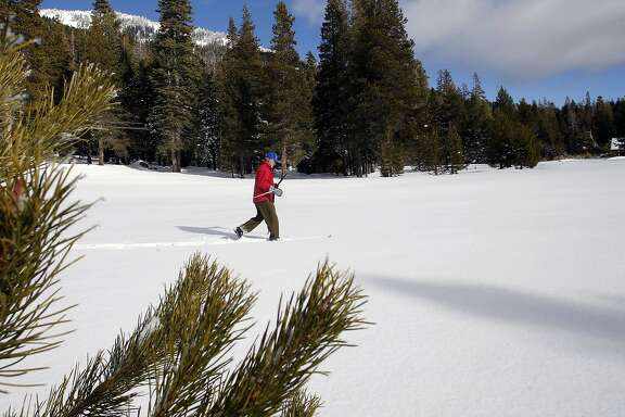 Frank Gehrke, chief of snow surveys for the California Department of Water Resources prepares to collect samples during the first snow survey of the season, at Phillips Station, Calif., on Wednesday December 30, 2015. After the survey it was determined that the snow pack is at 137% of the historical average for readings taken on January 1 at the Phillips location.